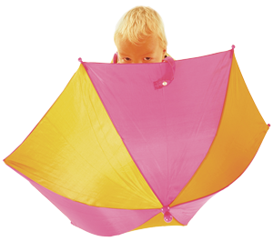 A young boy with a Home-Start umbrella.