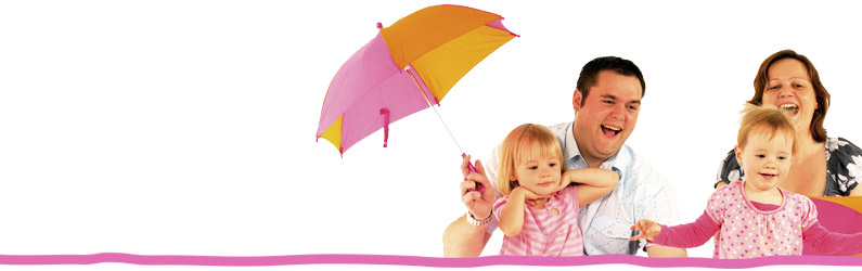 A family with Home-Start umbrellas.